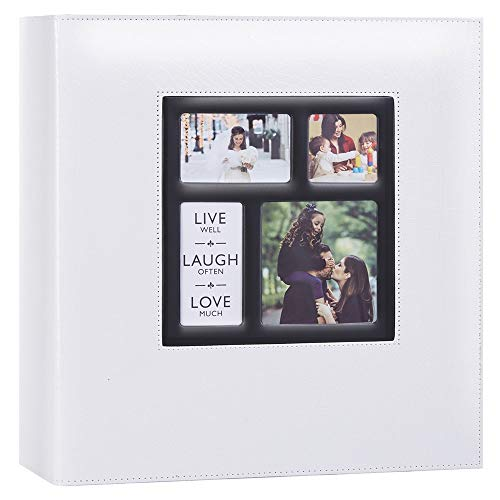 Artmag Photo Picutre Album 4x6 500 Photos, Extra Large Capacity Leather Cover Wedding Family Photo Albums Holds Horizontal and Vertical Photos (White)