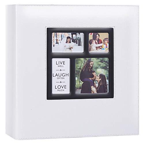 Ywlake Álbum de fotos con 1000 bolsillos para fotos de 15 x 10 cm, diseño de cocodrilo, tamaño extra grande, con funda de piel, para bodas, álbumes de fotos de 1000 fotos de 10 x 15 cm, color blanco