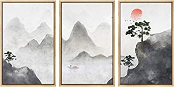 SIGNWIN 3 Piece Framed Canvas Wall Art Zen Canvas Prints Home Artwork Decoration for Living Room,Bedroom - 24 x36 x3 Panels
