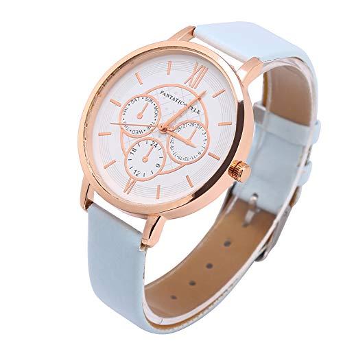 SALALIS Reloj, 3 esferas pequeñas Relojes de Cuarzo analógicos de Estilo Simple y Elegante para Sus Amigos o Familiares(Marco de Oro Rosa Azul Cielo)