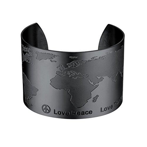 PROSTEEL Damen Armband Weltkarte Design Offener Armreif schwarz Metall plattiert Armspange 50mm breit Armschmuck für Frauen Mädchen Weihnachten Geburtstag Geschenk(schwarz)