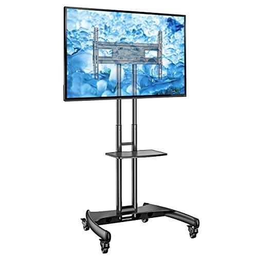"""Ergosolid Supporto TV da Pavimento con Ruote Carrello Staffa Porta Mobile Stand Orientabile per Schermi 32"""" a 65"""", fino a 45,5 kg, nero"""