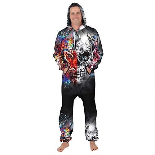 Paar Slaapmode Dier Onesie Hoodie 3D Schedel Print Jumpsuit Stijlvolle Tijger Gedrukt Een Zip Playsuit Hooded Volwassen Herfst Warm Pajama Plus Size Casual wear