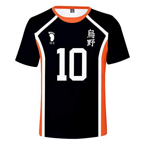Haikyuu T-Shirt Karasuno High School Volleyball T-Shirt 3D gedruckt Cosplay Anime Kurzarm Sommer Sportswear Tops Shirt für Erwachsene Fans