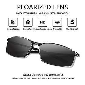 Sunmeet Gafas de Sol Hombre Polarizadas Deportes 100% Protección UV Gafas de sol para Hombre Conducción S1008(Gris/Negro)