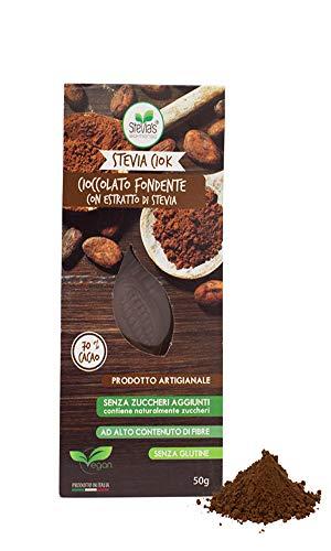 Steviaciok - Cioccolato Fondente 70% senza zuccheri aggiunti, dolcificato con Stevia Ipocalorico. Ideale per diabetici 50g
