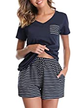 Vlazom Pijamas para Mujer Verano 95% Algodón de Pijama Mujer Corto Suave y Transpirable, Ropa de Dormir de Camiseta con Pantalones Cortas S-XXL,XXL,L-Azul Oscuro