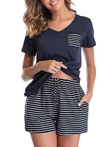 Vlazom Damen Schlafanzug Baumwolle Pyjama Set Weich Sommer Nachtwäsche Kurzarm V Aussschnitt Sleepwear mit Kordelzug, Navyblau, S