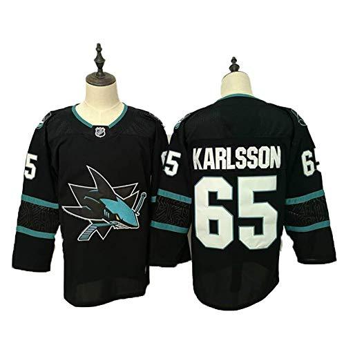 Yajun Erik Karlsson#65 San Jose Sharks Eishockey Trikots Jersey NHL Herren Sweatshirts Atmungsaktiv T-Shirt Bekleidung,Black,3XL
