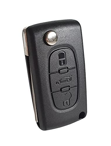 3-Tasten Gehäuse der Fernbedienung Typ Messer für Peugeot 207 308 407 607 807 und Citroen C2 C3 C4 C5 C6 C8 DS3 DS4 - Auto Schlüsselgehäuse, Pilot Autoschlüssel (Befestigung-Elektronikplatte)