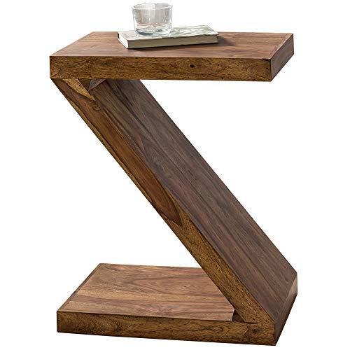 FineBuy Tavolino Legno Massello Sheesham 44 x 59 x 30 cm Z-Figura | Tavolo Soggiorno Stile Country | Tavolo Divano Prodotto Naturale | Tavolino da caffè