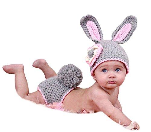 AKAAYUKO Bebé Recién Nacido Hecho A Mano Crochet Foto Fotografía Prop (Conejo Gris)