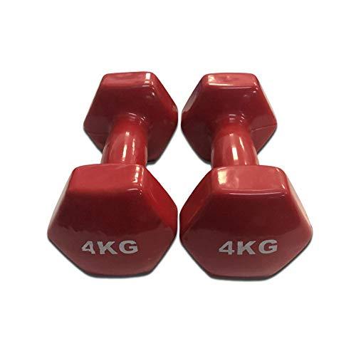 Natural Logistics Mancuernas de Vinilo (4 kg, Rojo)   Mancuernas hexagonales de Goma para Pilates   Pesas Antideslizantes para Gimnasio en casa   Deporte en casa con Pesas. KOTTAO