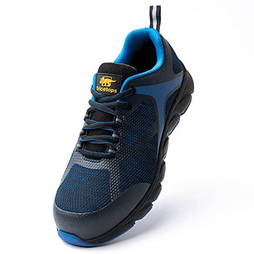 Tricetops Zapatos de seguridad S1P SRC compuesto, puntera y entresuela, transpirables, ligeros, deportivos, resistentes a pinchazos, antideslizantes, para senderismo
