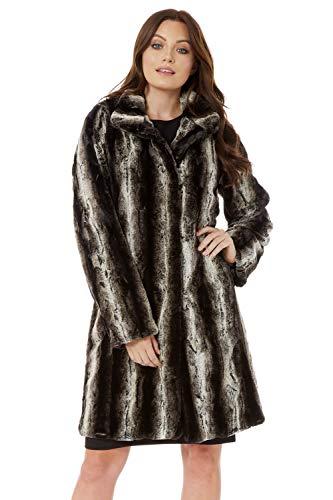 Roman Originals - Abrigo de piel sintética suave de animal de manga larga con bolsillos largos, diseño de animal