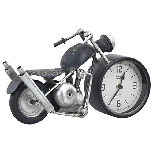 vidaXL Reloj de Mesa Analógico Decorativo Aspecto de Moto Casa Hogar Oficina Habitación Salón Dormitorio Robusto Estable Gris Antracita Hierro y MDF