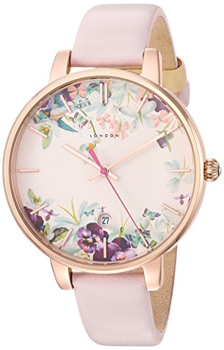 Ted Baker Women's 'KATE' Quartz Stainless Steel and Leather Dress Watch, Color:Pink (Model: 10031550)