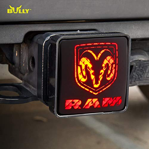 Bully CR-007D Dodge RAM Tow Hitch Cover/Receiver Trailer Plug in Black with LED Brake Light Dodge Logo Emblem - Car, Truck and SUV Accessories - Genuine License Products, 2 inch