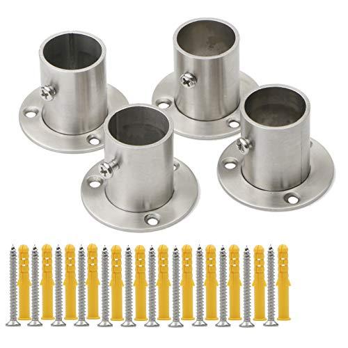 Pxyelec - Soporte de brida de acero inoxidable para barra de armario, para tubo de acero de 25 mm de diámetro exterior, 4 unidades