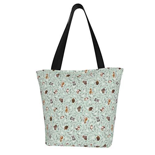 Mini-Handtasche mit Cartoon-Motiv, bedruckt, aus Leinen, mit Reißverschluss, Schultertasche, Arbeit, Büchertasche, Freizeit, Hobo-Tasche zum Einkaufen