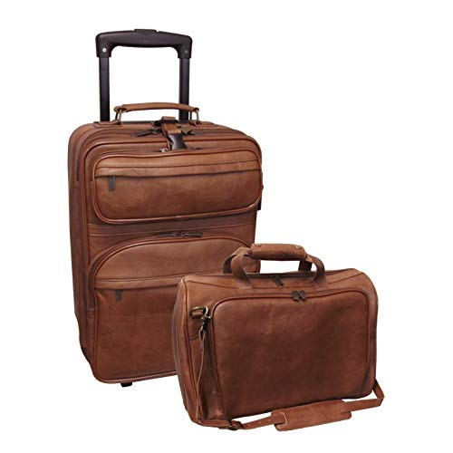 Sale!! Leather 2-Piece Carry-on Luggage Set Brown Solid Multi-Compartment Rolling Lined