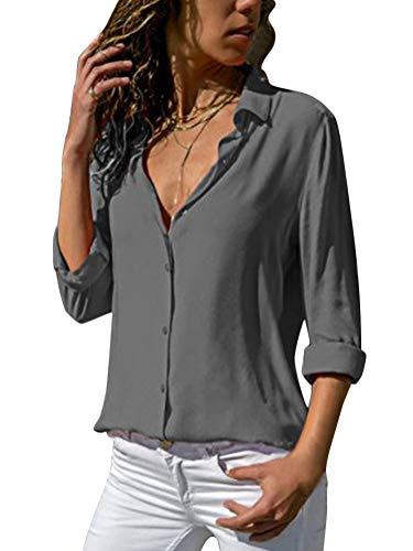 Minetom Camicie da Donna Collo a V Bluse Manica Lunga Grigio 42