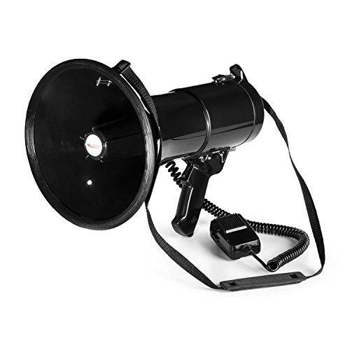 Auna MEGA080 - Megafono, 80 Watt, Raggio 700 Metri, Tracolla, Resistente alle intemperie, modalità Voce o Sirena, Volume Microfono Regolabile, Funzionamento Semplice, Bordo di Gomma, Nero