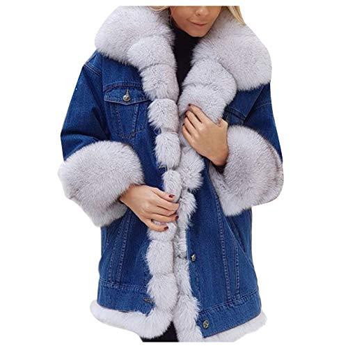Chaqueta de Mezclilla Larga para Mujer Chaqueta de Invierno de Lana de algodón Abrigo con Capucha Abrigo de Manga Larga cálido de Cola de Pescado