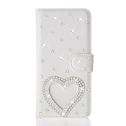 iPhone 5/5S Case, inenk® PU Leather Purse Case w/tarjeta ID titular blanco lujo moda 3d Handmade Glitter Bling Diamond Pearl Flip Crystal sintética con tarjetero y función atril cover-bear, iPhone 6 Plus / 6s Plus, corazón plateado