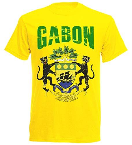 T-Shirt Gabun WM 2018 gelb Vintage Destroy Wappen D01 NC Brasil (S)