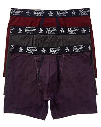 Original Penguin Men's Cotton Stretch Boxer Brief Underwear, Multipack, Cgh/Tprt/Nshade, XL