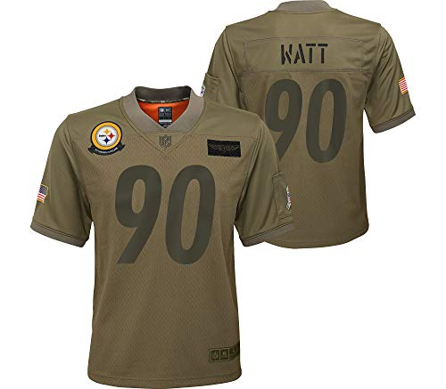 Nike T.J. Watt Pittsburgh Steelers NFL Boys Youth 8-20 Camo Green Salute to Service On-Field Game Day Jersey (Youth Small 8)