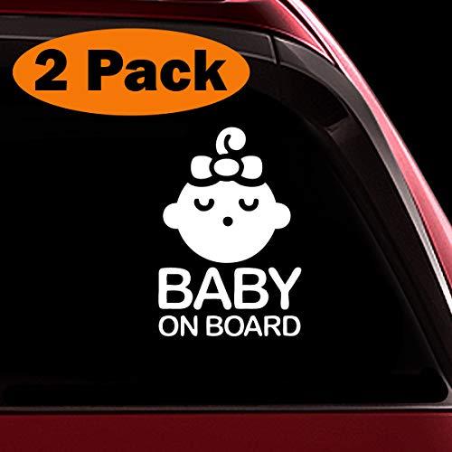 TOTOMO # ALI-027 (2er Set) Baby an Bord Aufkleber Decal Sicherheit Vorsicht Zeichen für Auto Windows - Seeling Baby Girl