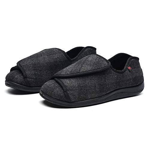 Juan Edema - Zapatillas diabéticas ajustables extra anchas ortopédicas para hombres y mujeres hinchadas pies caminando zapatos gris,45