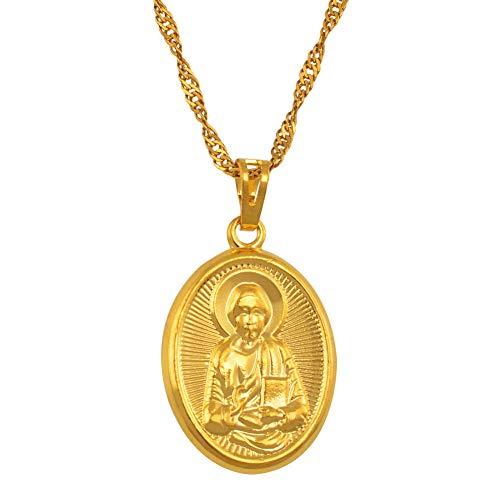 Nobrand Mary Our Lady und Sohn Anhänger Halskette Gold Farbe Katholische Kirche Schmuck, russisch-orthodoxe Kirche für Frauen