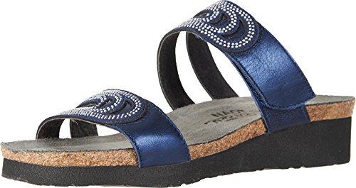 NAOT Footwear Women's Ainsley Polar Sea Lthr/Dark Blue w/Nickel Rivets Sandal 9 M US
