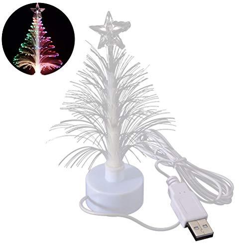 LEDMOMO Luce di notte dell'albero di Natale, lampada della decorazione di festival di USB dell'albero della luce della fibra LED per la camera da letto Centro commerciale Casa