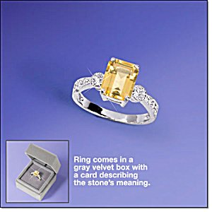 Sterling Silver Geniune Citrine Ring in Gift Box Size 6