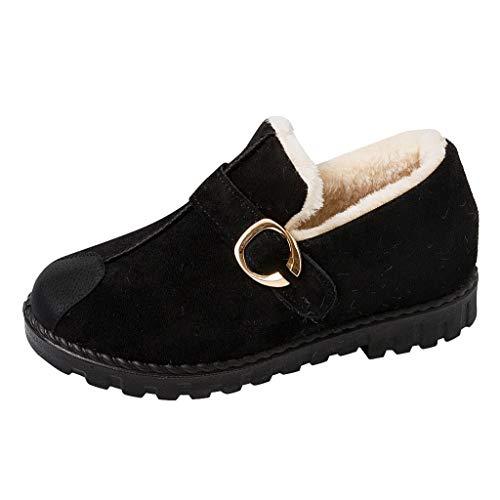 Stiefel Damen Flach Winter Warme Pelzgefüttert Ohne Verschluss Mokassins mit Schnalle Einfarbiges Runder Zeh Slipper Schuhe Damenschuhe (39 EU, Schwarz)