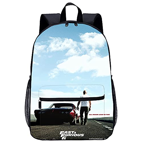 danyangshop 3D-Druck Rucksack Student Schultasche Fast & Furious Unisex Schultasche Rucksack Freizeit Schulausflug Größe: 45x30x15 cm/17 Zoll Wasserdichte Schultaschen