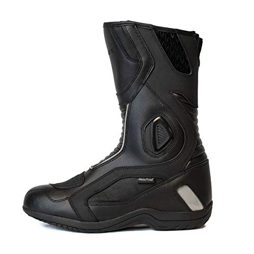 Lanin Black Motorcycle Boots for Men PU Leather Touring Water Resistant KRONOX (9)