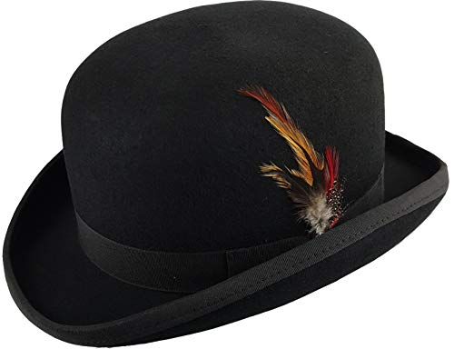MAZ Hard Felt Bowler Hat 100% Wool Bowler Hat PVC Lining Removable Feather...