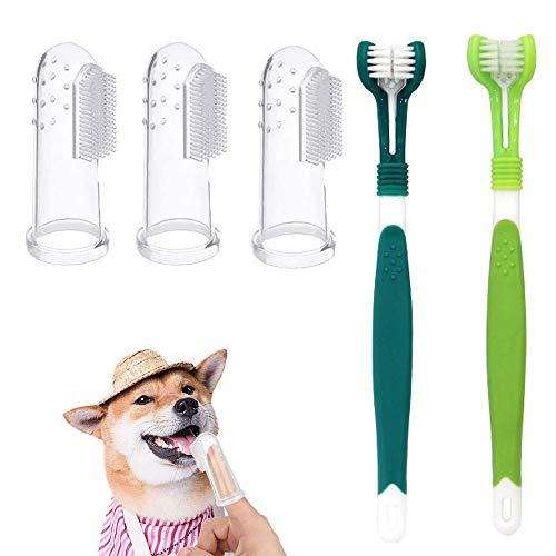 zfdg Tandborste för husdjur, 3 delar silikon husdjurtandborste, 2 delar 3 huvud husdjur tandborste hund katt tandborste, för hund eller katt dålig andedräkt tänder rengöring husdjur tandvård