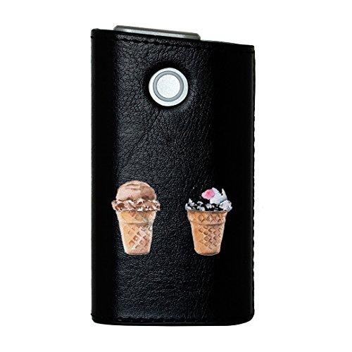 glo グロー グロウ 専用 レザーケース レザーカバー タバコ ケース カバー 合皮 ハードケース カバー 収納 デザイン 革 皮 BLACK ブラック アイス かわいい 夏 014774
