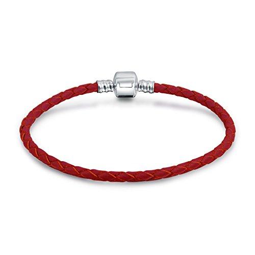 Bling Jewelry Rojo Tejido Trenzado Genuino Cuero Starter Encanto se Adapta a Las Cuentas Europeas Pulsera para Las Mujeres 925 Plata esterlina Barril Cierre