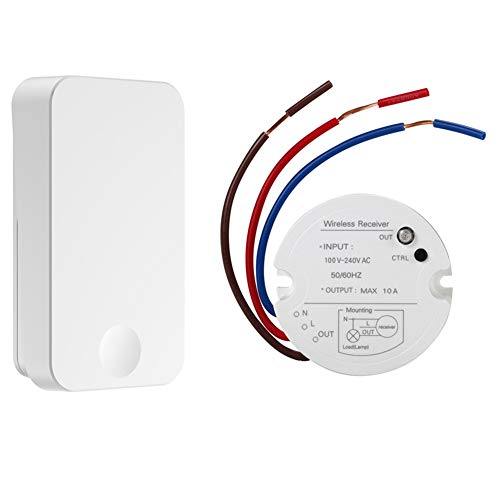 QIACHIP Wireless Wall Light Switch Kit, RF Transmitter Remote Control Switch Battery-FREE (Self-powered) and 1 Channel Relay Receiver For Lamps LED Fans Ceiling Lights Appliances On/off Toggle