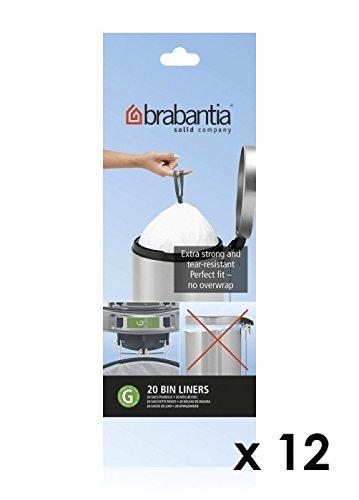 Brabantia - Rouleau de 20 sacs poubelle 23/30 l blanc code g (lot de 11 + 1 offert)