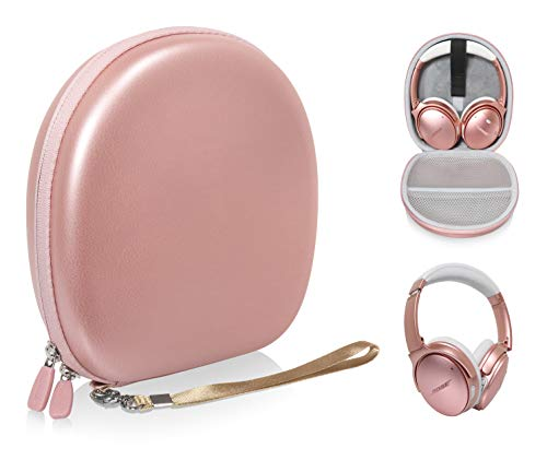 Headphone Case for Bose QuietComfort 35 Wireless Headphones II, QC35, QC25, QC2, QC15, QC3, SoundLink On-Ear, OE, OE2/2i; JBL E55BT, Quincy Edition, Tune 600, E45BT; Sony MDRXB950, XB650 (Rose Gold)
