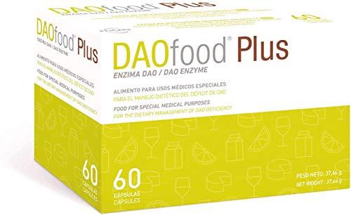 DAOfood Plus - Nahrungsergänzungsmittel DAO-Mangel/Histamin-Intoleranz - 60 effizienten, leicht verdaubare magensaftresistente Kapseln - Verdauungsenzyme - DAO-Enzym, Quercetin und Vitamin C.
