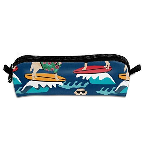 Gelb Hund Surfen Labrador Navy Federmäppchen Stifteetui Stiftetasche Mehrzwecktasche tragbar Schreibwaren Schminktasche für Jungen Mädchen Studenten Männer Frauen Erwachsene